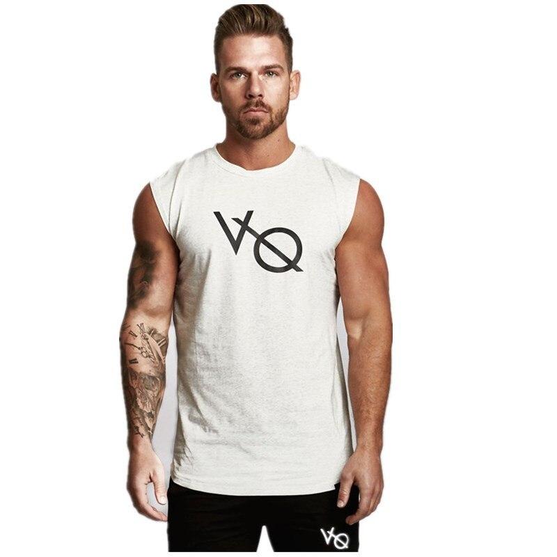 Summer Fitness Sleeveless Exercise Cotton Blended Straight Hem Men's Vest Running Sleeveless Top Slim Fit Training Running Vest