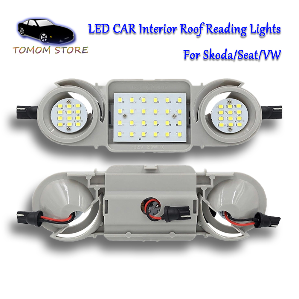 white <font><b>led</b></font> car interior dome light Roof reading lamps for <font><b>Skoda</b></font> <font><b>Octavia</b></font> 5E3 <font><b>Octavia</b></font> 5E5 Superb 3T4 Yeti Super 3T5 auto lamps image