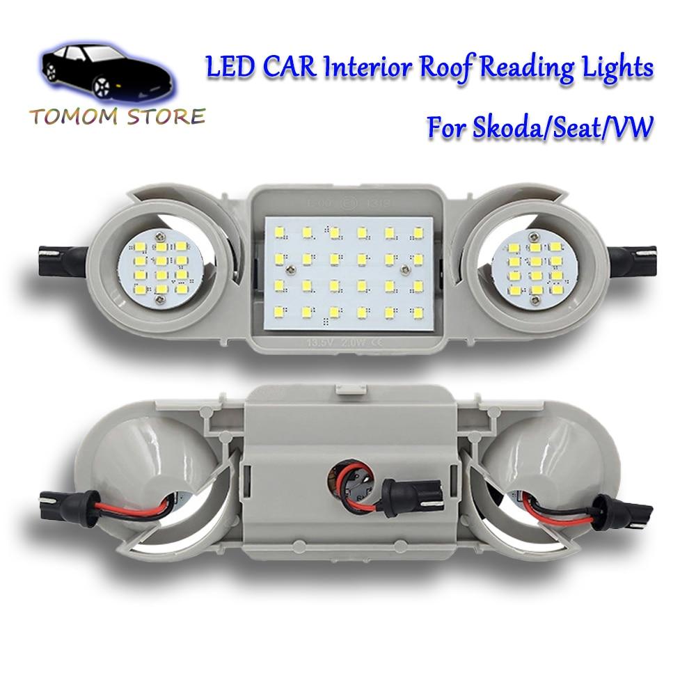 White Led Car Interior Dome Light Roof Reading Lamps For Skoda Octavia 5E3 Octavia 5E5 Superb 3T4 Yeti Super 3T5 Auto Lamps