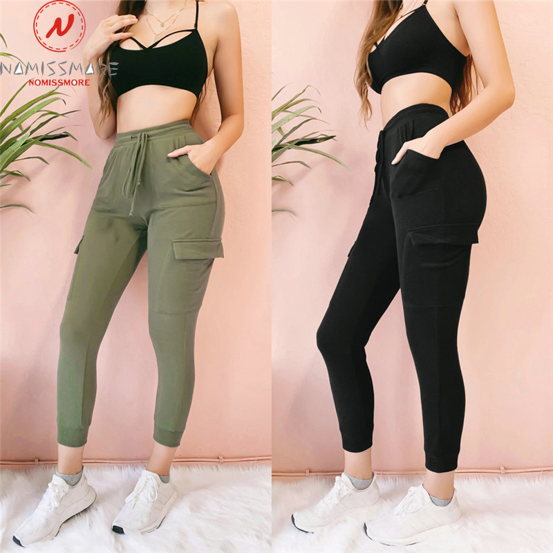 England Style Women Summer Autumn Pencil Pants Drawstring Design Pockets Decor Mid Waist Solid Slim Hips Ankle-Length Trousers