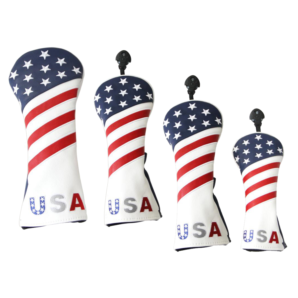 4pcs/Set Golf Headcover 460cc Driver Wood Head Cover PU Leather With Interchangeable Number Tag