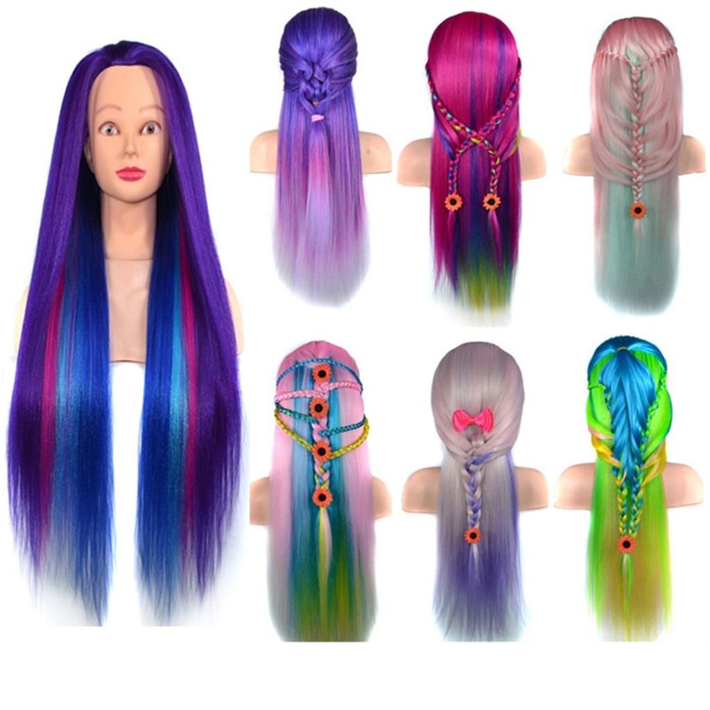 Long Synthetic Hair Training Head Model Salon Hairdresser Practice Mannequin