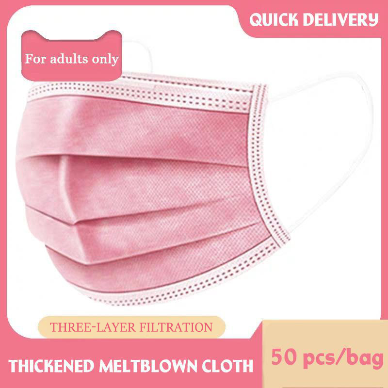 50 Pcs Pink Disposable Non-woven 3-layer Face Mask Breathable Mask With Elastic Earband Breathable Adult Mouth Mask