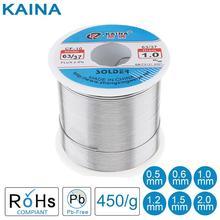 63/37 450g 0.5/0.8/1.0/1.2/1.5/2.0mm kalay ince tel çekirdek Rosin lehim teli 2% akı ve düşük erime noktası aksesuarları