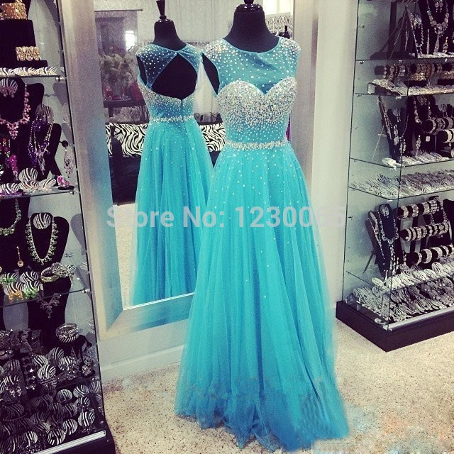 Blue Coral Sexy Backless Tulle Crystal A-Line Prom Evening Gown 2018 Vestidos De Festa Vestido Longo Mother Of The Bride Dresses