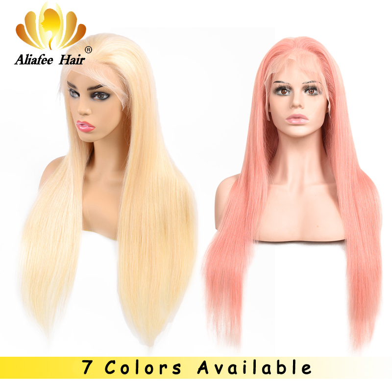 Aliafee 613 Blue Red Pink Purple Yellow Brazilian Straight Lace Front Human Hair Wigs 613 Blonde