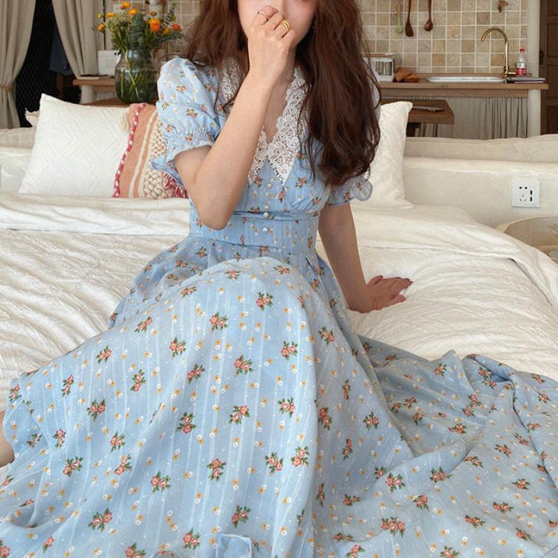 Vintage Floral Dress Women Elegant Lace Chiffon Korean Party Dress Puff Sleeve V Neck Midi Dress Fall Dresses for Women 2021