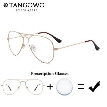TANGOWO Mens Myopia Glasses Optical Eyeglasses Male Prescription Eyeglasses Metal Glasses Frame Grade Glass Degree Eyewear фото