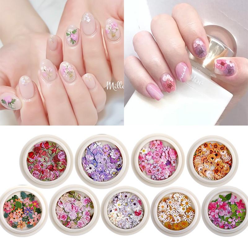 Купить дизайн ногтей украшения аксессуары цветы ромашки и листья смешанные