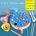 Montessori balança de pesca de madeira brinquedos mãos cérebro formação clipe contas quebra-cabeça jogo de matemática do bebê cedo brinquedos educativos