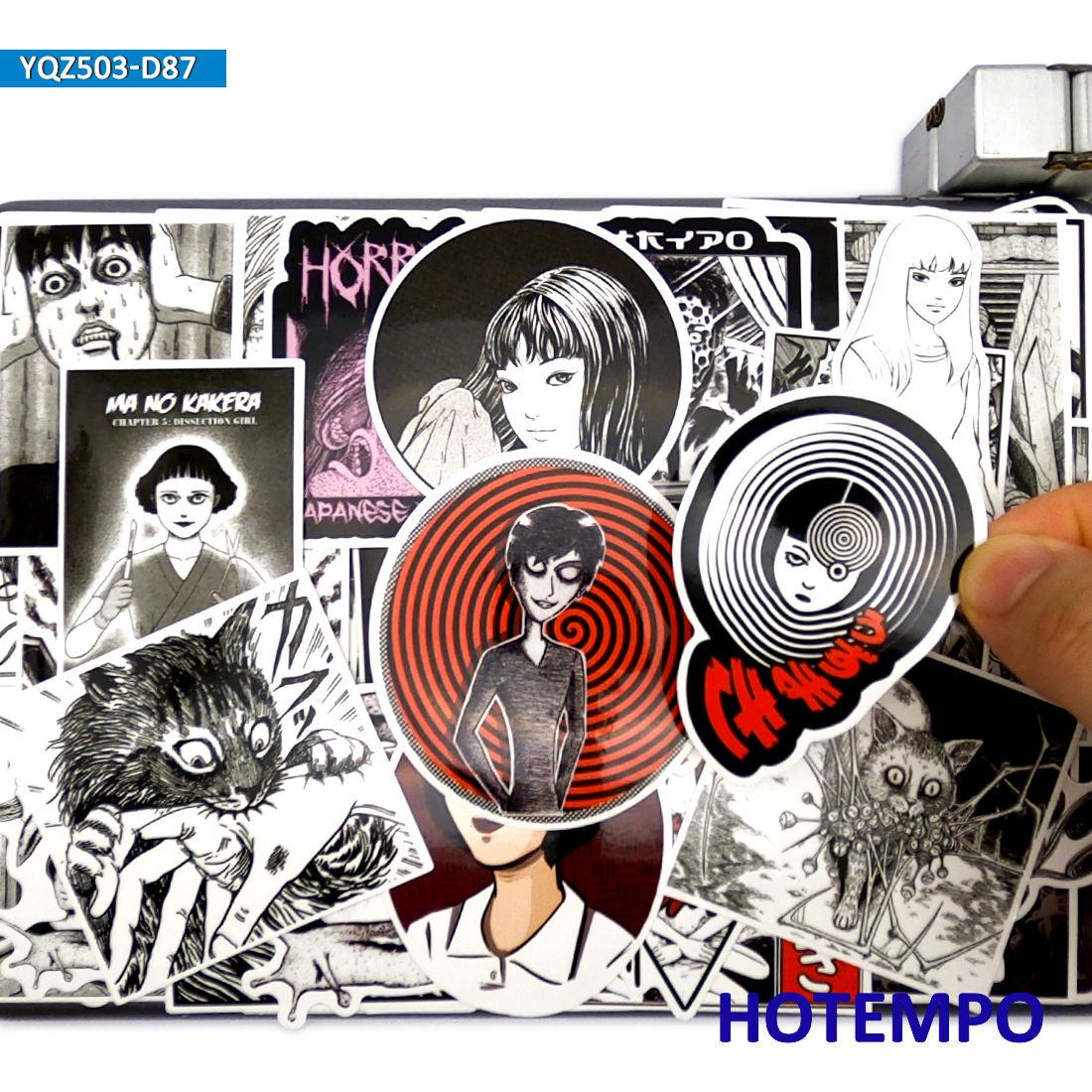 87 pçs misto japão horror mangá tomie spira estilo escuro decalques adesivos à prova ddiy água pacote para diy telefone portátil bagagem caso bicicleta carro
