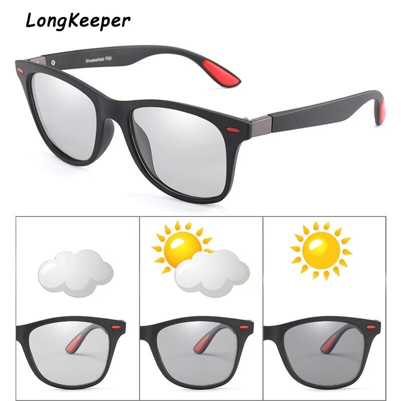 Longkeeper Brand Photochromic Sunglasses Women Fashion Retro Polarized Glasses For Men Square Frame Drivers UV400