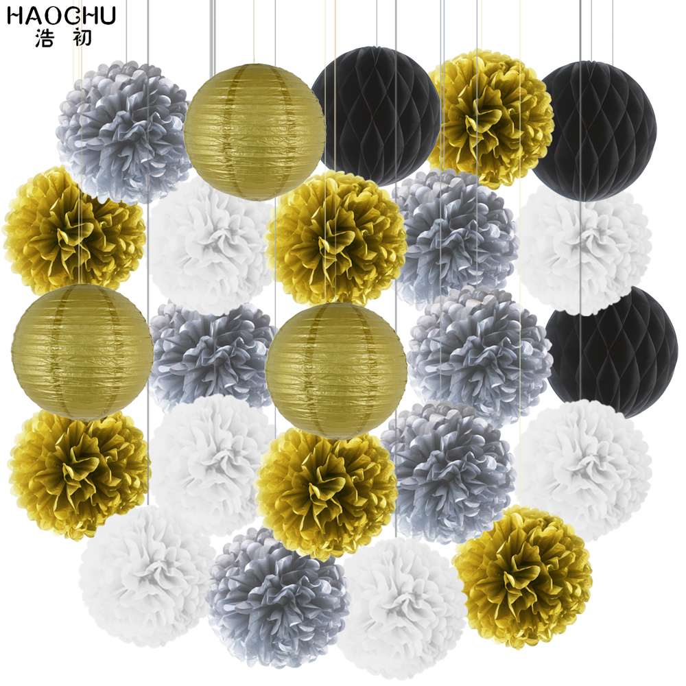 Mixed 24PCS Gold Silver Party Tissue Pompoms Paper Lantern Honeycomb Flower Ball Girl Baby Shower Birthday Wedding Decorations