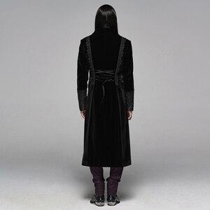 Image 4 - PUNK RAVE Mens Gothic Velvet Shuttle Weaving Jacquard Medium Length Jacket Halloween Club Party Cosplay Mens Long Coats