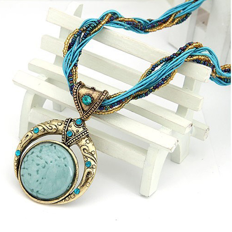Vintage Necklace Jewelry Fashion Popular Retro Bohemia Style Multilayer Beads Chain Crystal Grain Pendant Necklace
