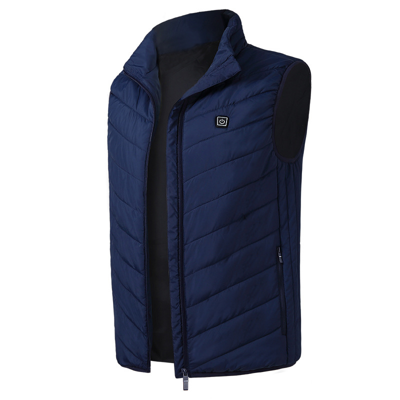 New New Men Electric Heated Vest Heating Waistcoat Usb Thermal Warm Cloth Feather Winter Jacket(Blue 4xl)