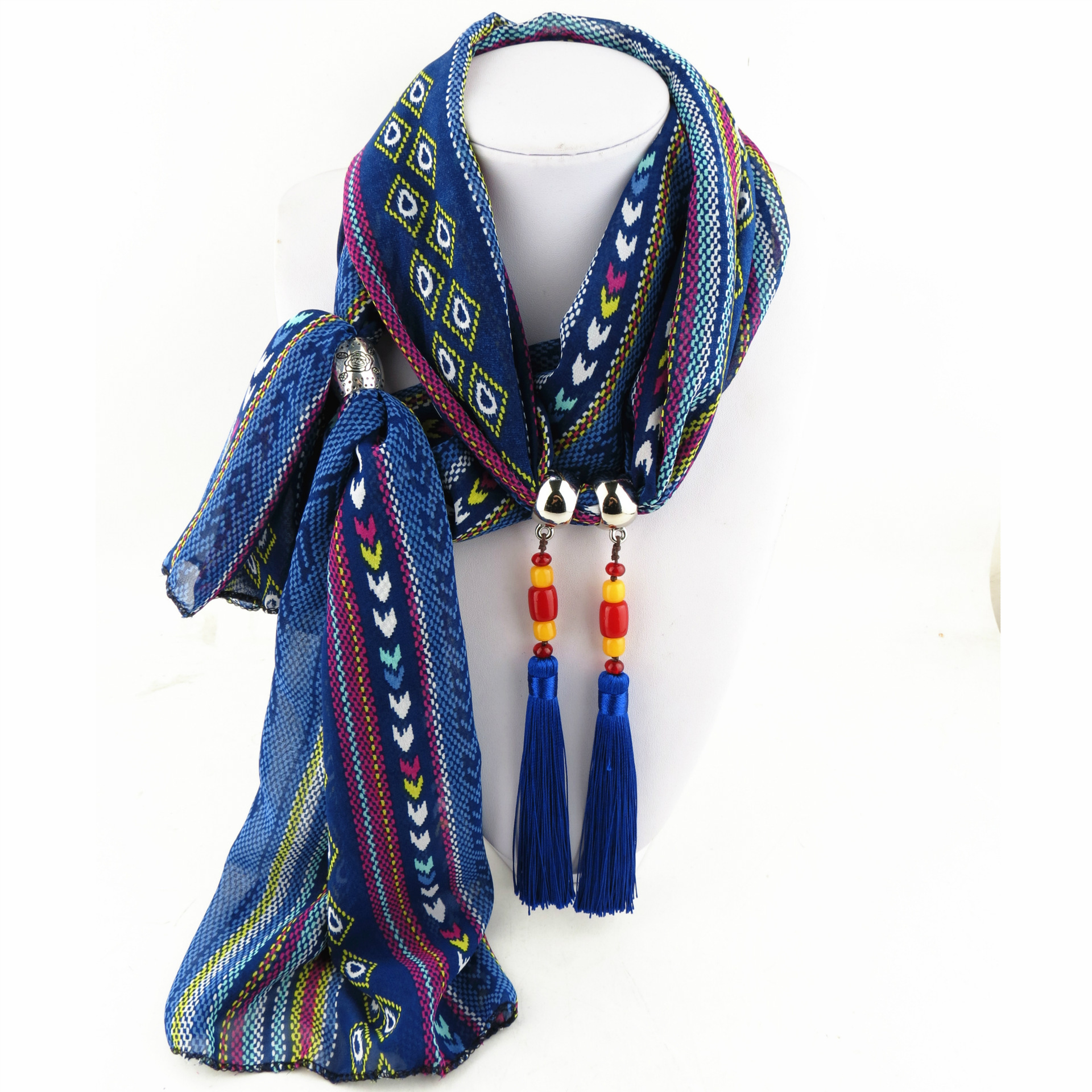 Ethnic style striped satin ornaments pendant scarf necklace printed chiffon cloth with tassel decorative