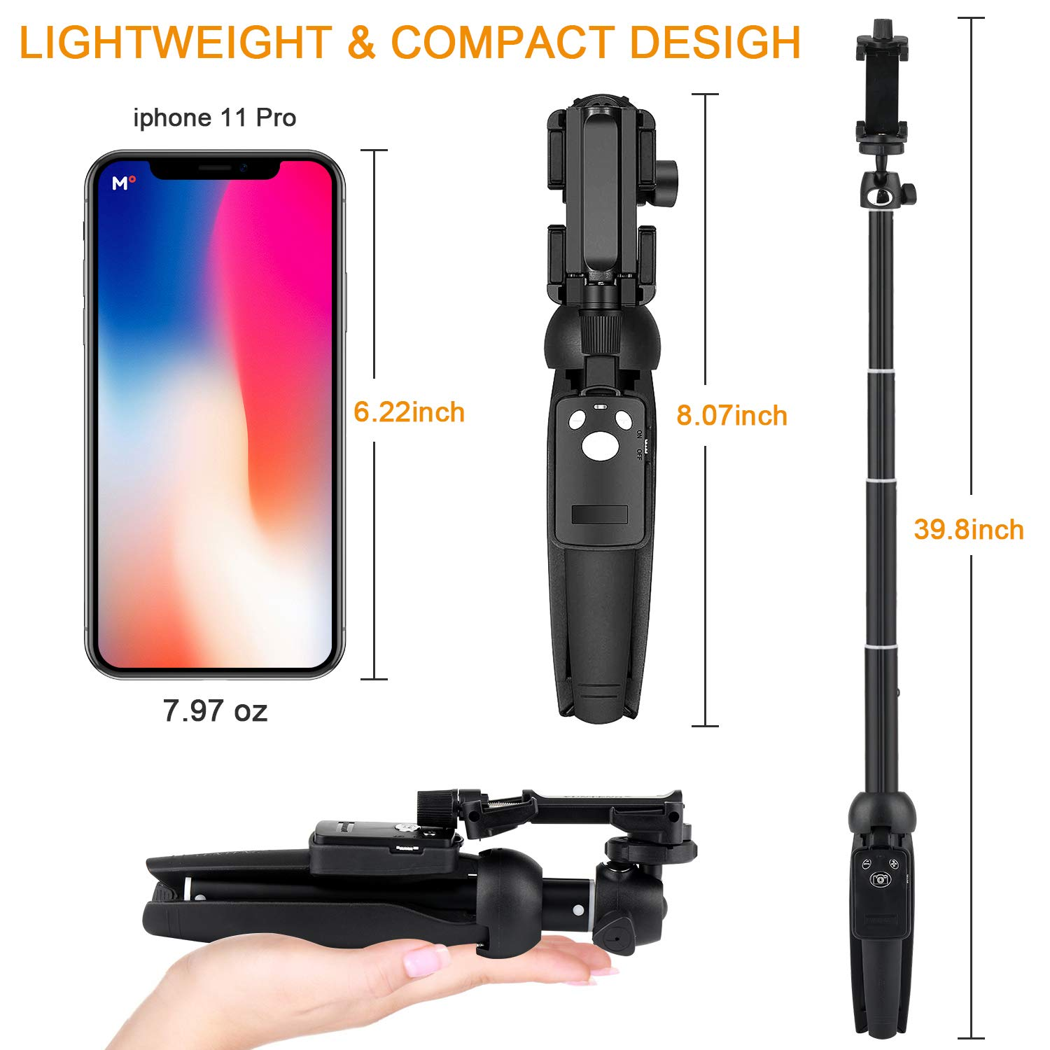 Professional Selfie Stick Tripod 40-inch Extendable Selfie Stick with Wireless Remote and Tripod Stand for iPhone 6 7 8 X Plus,Samsung Galaxy Note 9//S9//Huawei//Honor and More Selfie Stick