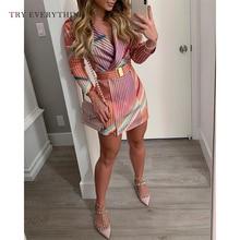 Colorful Striped Summer Dress Women 2019 Long Sleeve Collar Shirt Print Belt Office Ladies Blazer Mini Short Dresses