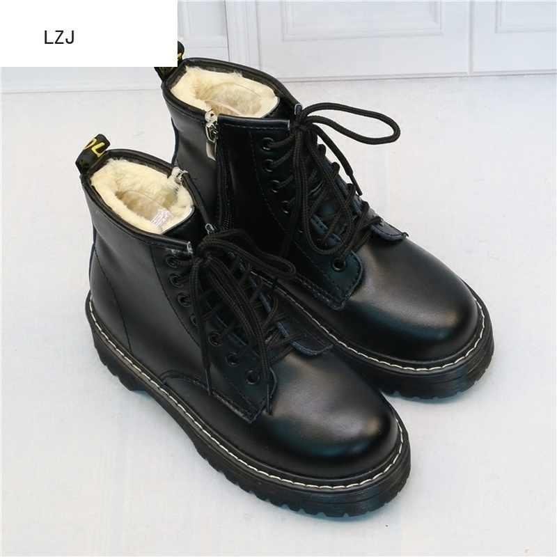 LZJ nuevo 2019 botines de plataforma plana para mujer botas de primavera negro con cordones negros medianos Creepers zapatos MODA CALZADO de fiesta 35-40