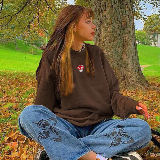 2021 Spring Sweatshirts Streetwear new Fashion Embroidery mushroom Indie Aesthetic 90s Long Sleeve Summer Hoodies clothes 1