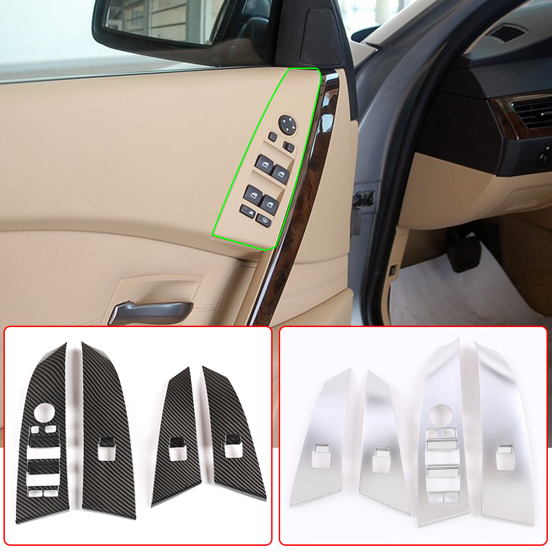 Elevador de ventana de coche cubierta para marco de interruptor Trim ABS fibra de carbono para BMW serie 5 E60 525li 2004-2006 accesorios de Interior de coche