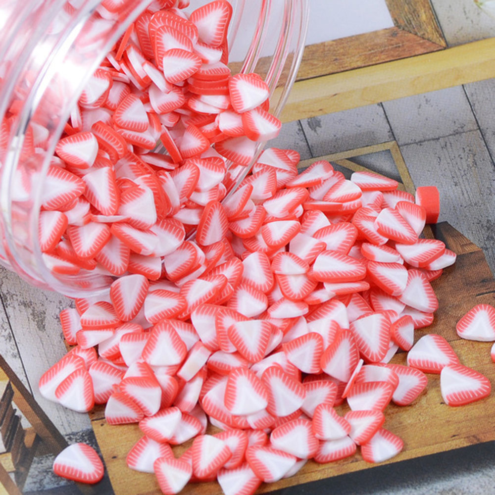 1000pcs/bag Polymer Clay Fruit Fimo Slices 5mm Diameter DIY Nail Art Decorations Sticker Mixed 23 Type Designs Tools Fruit Slice