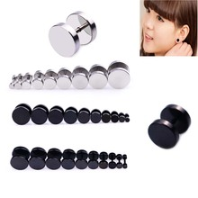 2Pcs Silver Stainless Steel Cheater Faux Fake Ear Plugs Flesh Tunnel Gauges Tapers Stretcher Earring 2pc white black stainless steel cheater faux fake ear plugs flesh tunnel gauges tapers stretcher earring