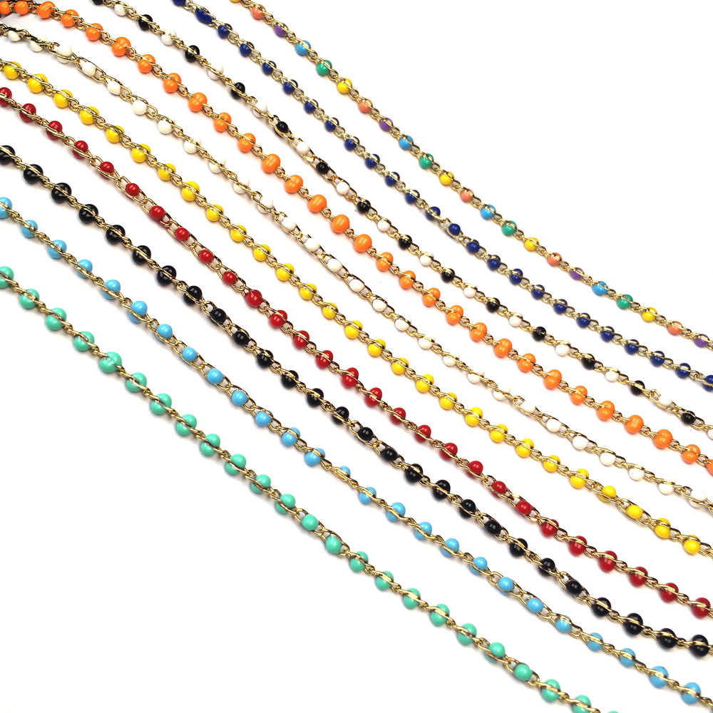 1 Meter Handmade Gold Wire Wrapped Rosary Chain Stone Beads Chains