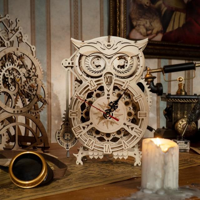 Robotime Rokr 161pcs Creative DIY 3D Owl Clock Wooden Model Building Block Kits Assembly Toy Gift for Children Adult LK503 9