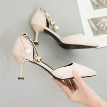 New Korean suede pointed hollow fashion single shoes high heels fashion thin heels women's shoes