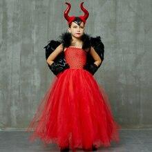 Красный малефисентный костюм на Хэллоуин платье пачка с дьяволом