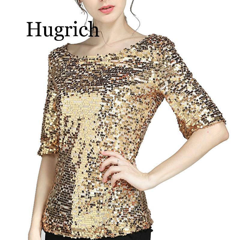 Shirt Women Black 4XL 5XL Plus Size Shirt Fashion Sequins Sparkle Coctail Party Casual Top Blouse Shirt