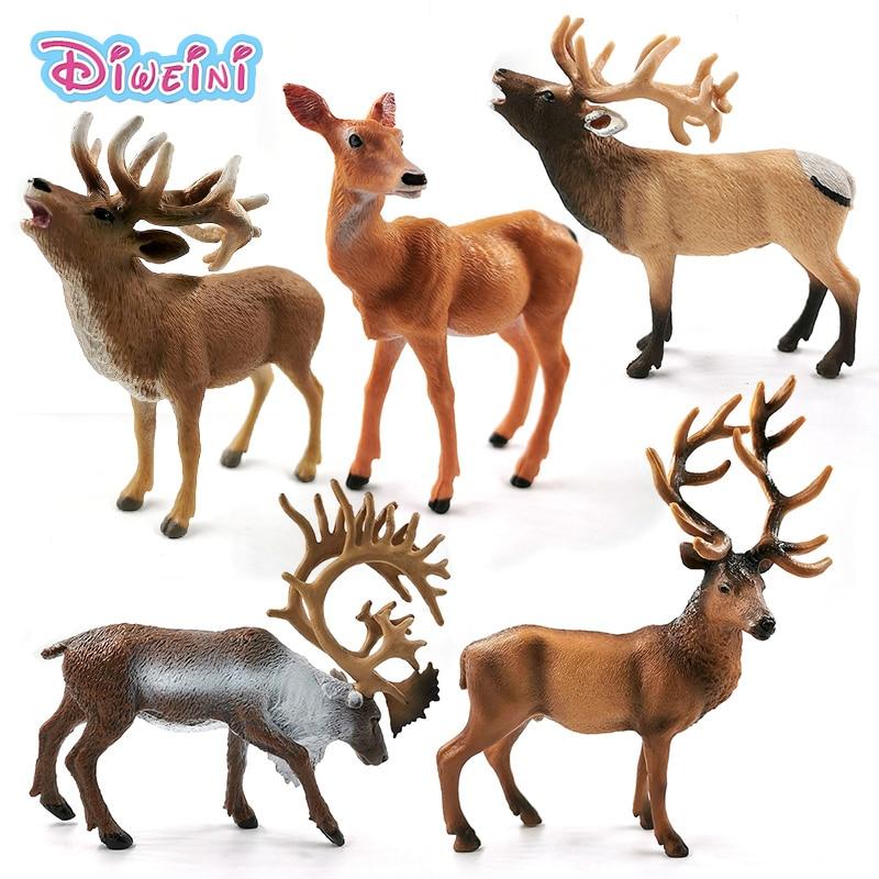 New Sika Deer Simulation Reindeer Elk Animal Model Action Figure Home Decor Boy Girl Gift For Kids Educational Toys For Children