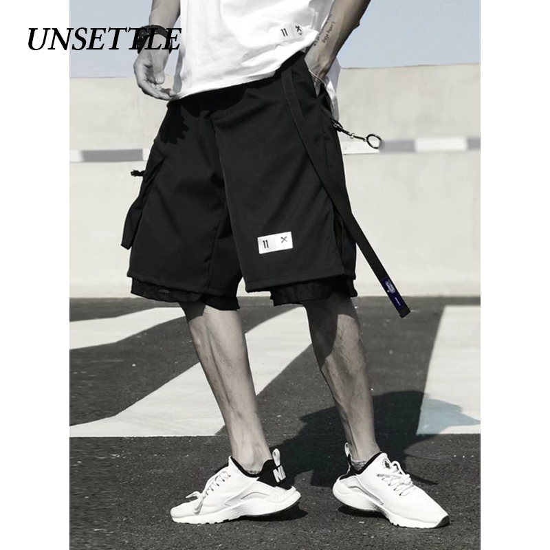 UNSETTLE 2020SS Harajuku Shorts Men Summer Elastic Suit Shorts Streetwear Casual Shorts Function Hip Hop Sweatpants Short Pants