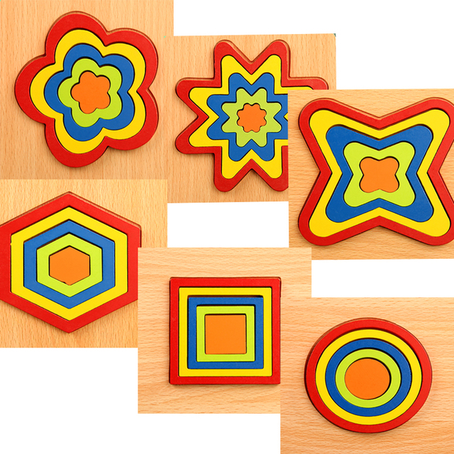 High Quality Colorful 3D Wooden Geometric Shapes Cognition Puzzles Board Math Game Montessori Learning Educational For Kids Toys 4