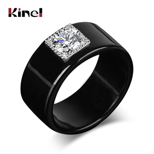 Kinel Vintage Wedding Rings For Women Punk Rock Silver Color Zircon Black Men Ring Engagement Jewelry 2019 New
