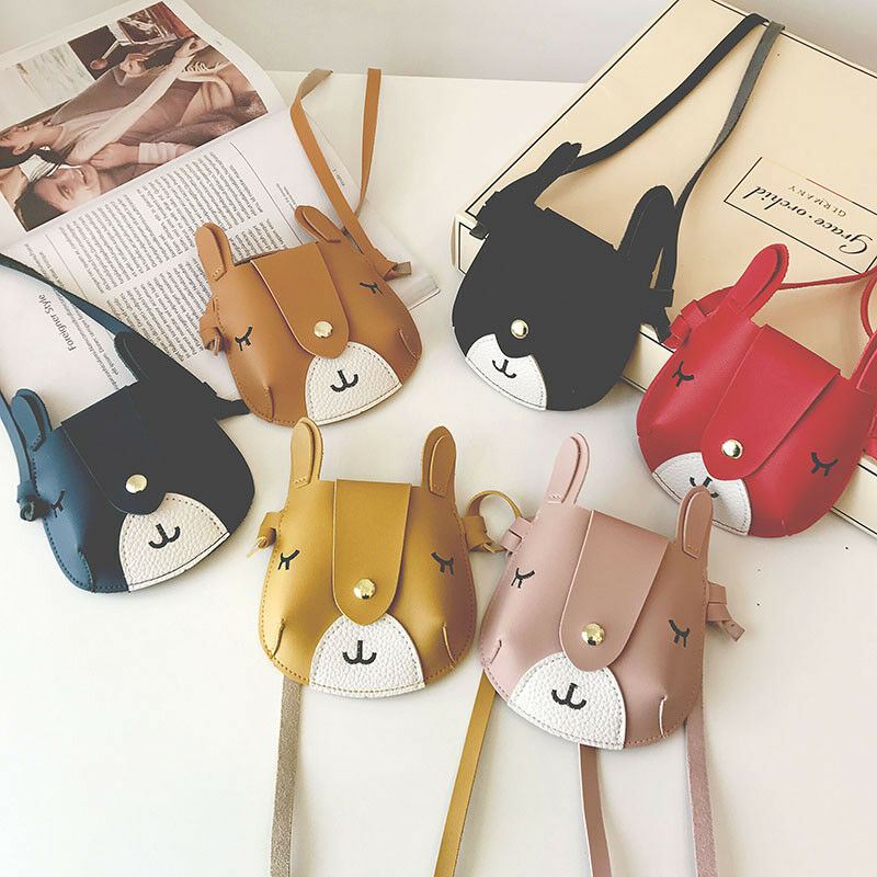2019 Cute Baby Kid Girl Princess Leather Handbag Cross Body Messenger Satchel Bags Cute Little Dog 3D Ears Coin Purses Kids Gift