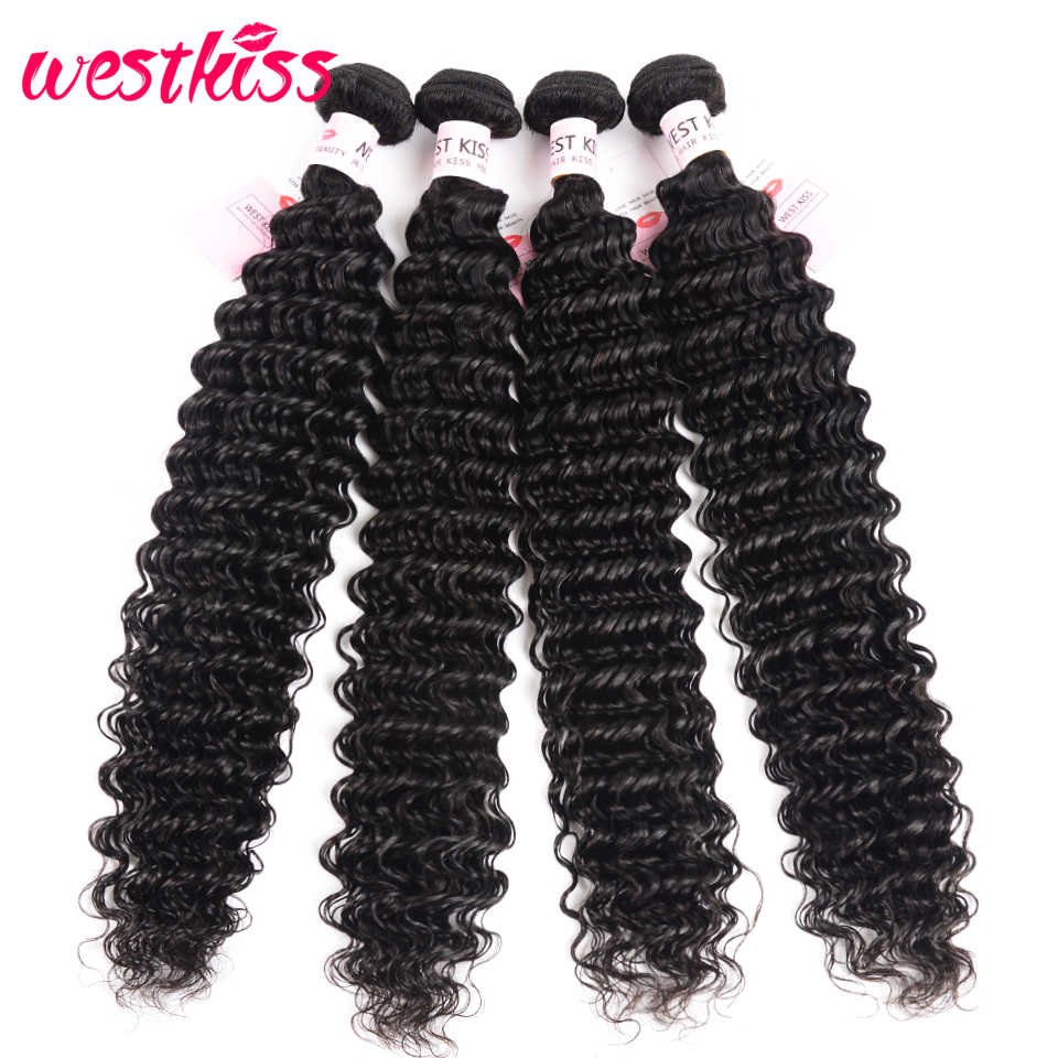 Peruvian Deep Wave Bundles 8-26 Inches 100% Human Hair Weave Bundles Natural Color Remy Hair Extensions West Kiss Hair