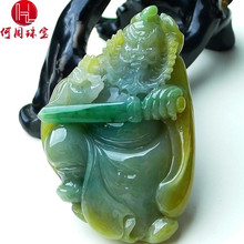 Hezhou jewelry!Myanmar natural jade!Exquisite hand carving!Guan gong pendant!Exquisite workmanship! 122.30g mozart the statue of guan gong enshrines the god the sword lifts guan gong guan yu guan er ye wu caishen lucky ornaments