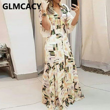 Women V-neck Colorblock Printed Buttoned Bell Sleeve Maxi Dr