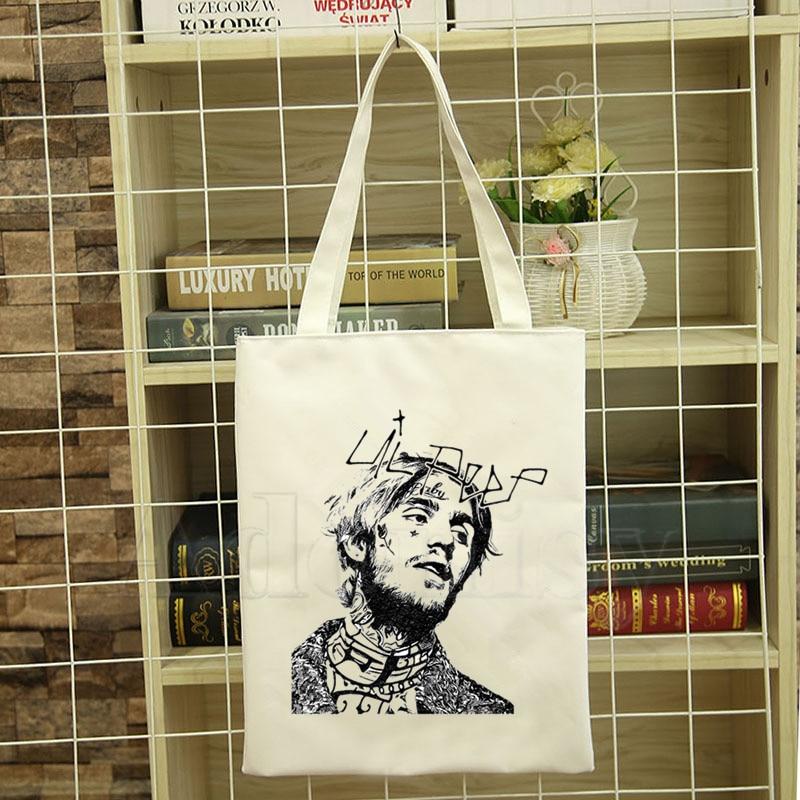 Rapper Lil Peep Print Female Handbags Fashion Handbag Canvas Bag Tote Ladies Casual Shoulder Bag Reusable Shopping Bags