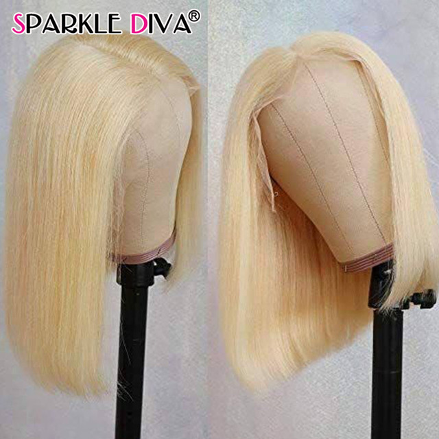613 Blonde Short Bob Wigs Lace Front Human Hair Wigs Pre Plucked With Baby Hair Brazilian Straight Remy Hair 5*1 Lace Bob Wig 2