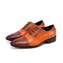 Italian Shoe Mixed-Colors Quality Genuine-Leather Brand Lace-Up Orange Men New-Arrival
