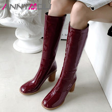 ANNYMOLI Winter Knee High Boots Women Women Patent Leather Round High Heels Tall Boots Zipper Round Toe Shoes Ladies Fall 34-46 beango europe retro fashion do old ladies knee high boots round toe square heels buckle side zipper women motorcycle boots