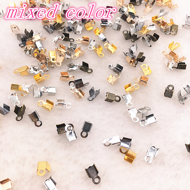 Hot 200pcs/lot 2x6/4x8mm Crimp Beads Cove Clasps Cord End Caps String Ribbon Leather Clip Foldover For Necklace Connectors