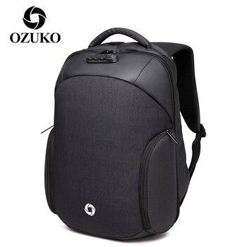 OZUKO Outdoor Travel Laptop Backpack for Men USB Charging Anti Theft Multifunction Bagpack Male Rucksack Waterproof Bags Mochila top power anti theft backpack multifunction men usb charge 15 6inch laptop bag waterproof school bags mochila travel backpack