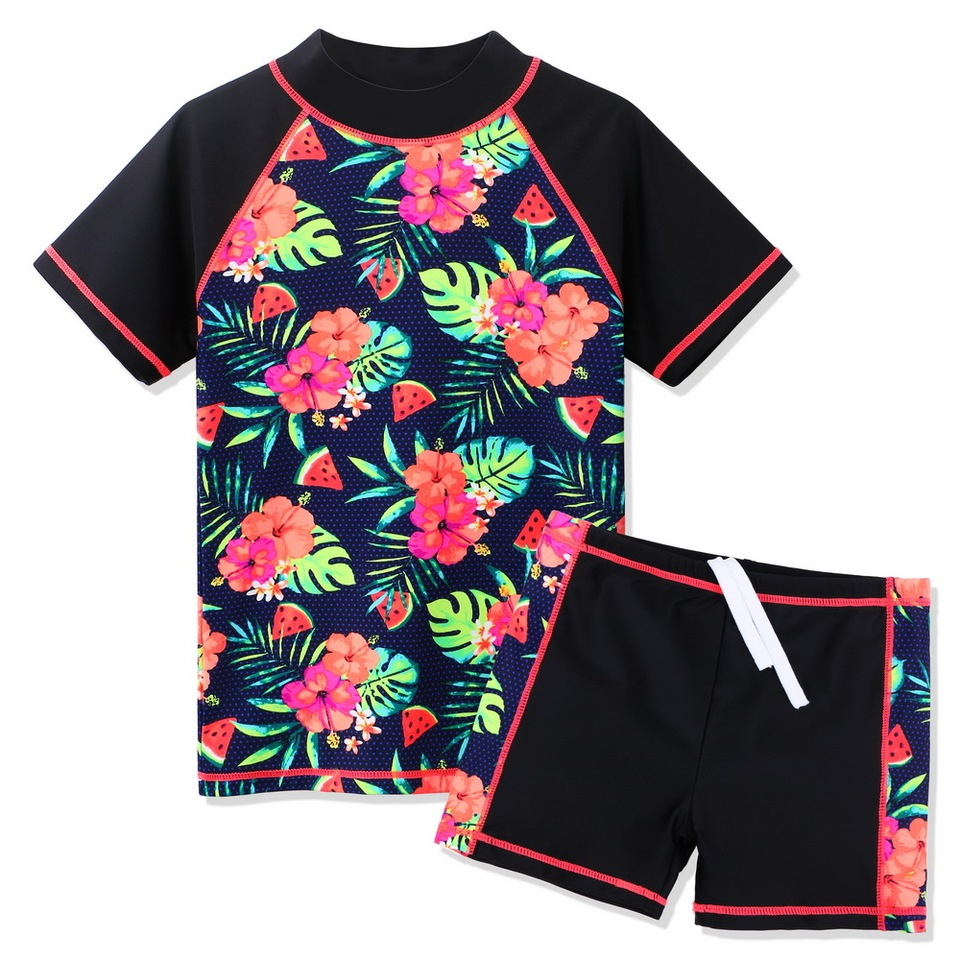 TiaoBug Toddler Baby Girls 2 Piece Long Sleeve Floral Swimsuit Rash Guard Tops with Shorts Tankini Swimsuit Set UPF 50+