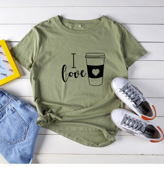 I Love Coffee Letter Print T Shirt 6 Colors Women Short Sleeve O Neck Loose Tshirt 2020 Summer Women Tee Shirt Tops Mujer trendy style scoop neck letter print short sleeves tee for women