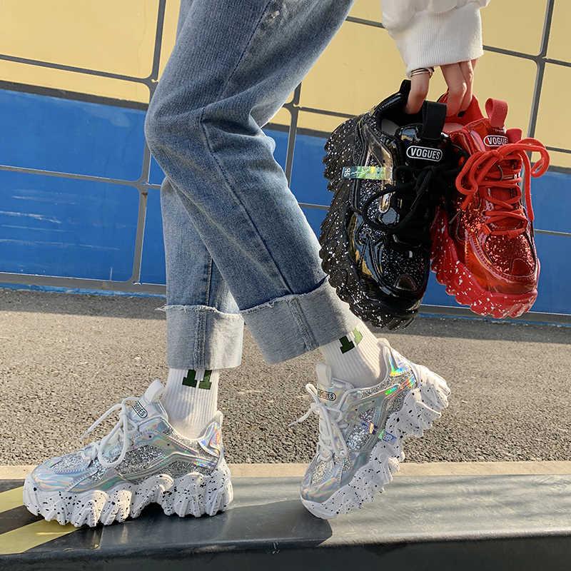 Giày Thể Thao Nữ Thu Đông 2020 Thời Trang Đính Hạt Cườm Vải Bling Thoáng Khí Mũi Tròn Giải Trí Chun Nữ Giày Nữ Tenis Feminino TUINANLE